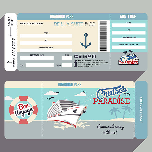 Cruises to Paradise boarding pass design Cruises to Paradise. Cruise ship boarding pass flat graphic design template. Face and back side cruise vacation stock illustrations