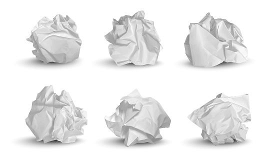 Crumpled balls. 3d garbage paper idea notes trash symbols decent vector realistic pictures