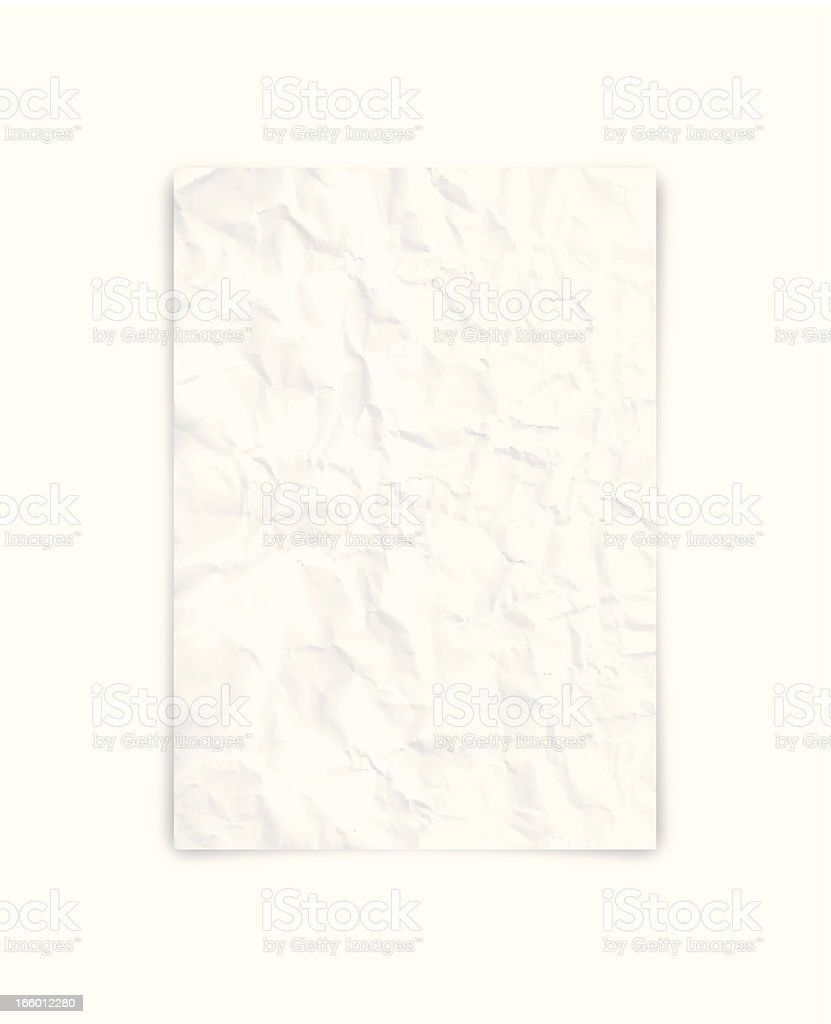 Crumpled blank paper vector art illustration