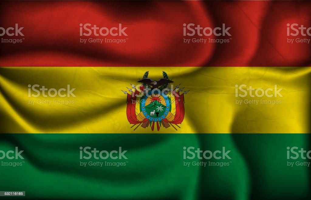 Arrugados bandera de Bolivia sobre un fondo claro. - ilustración de arte vectorial