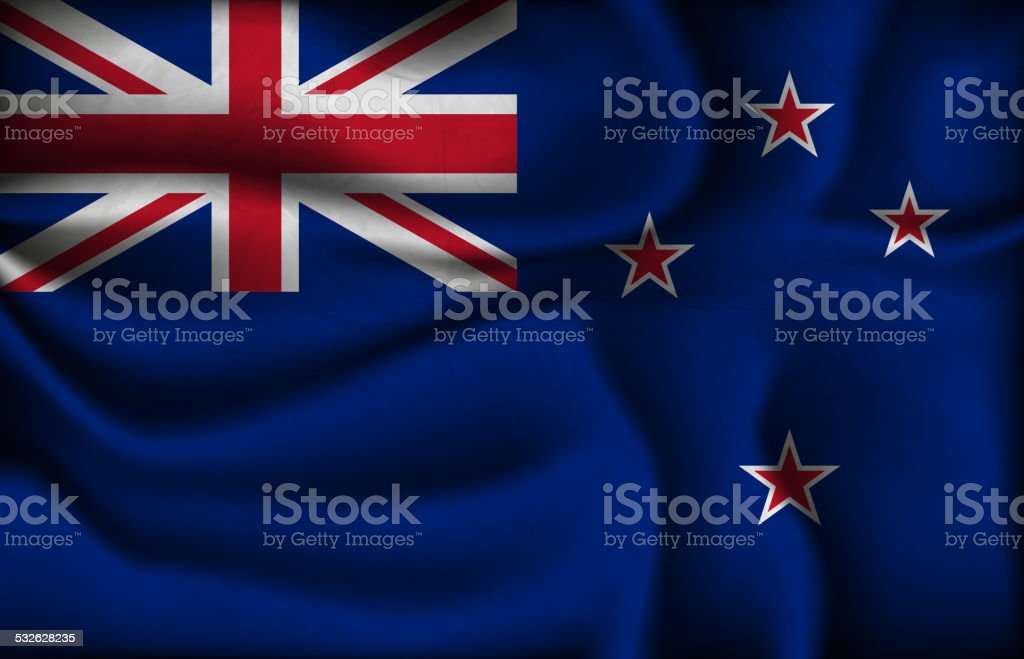 crumpled flag of New Zealand on a light background. vector art illustration