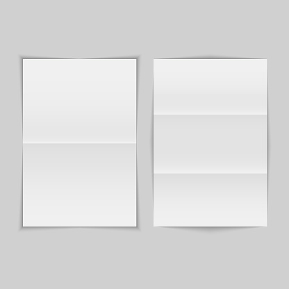 Crumpled folded pieces of paper set. Vector illustration