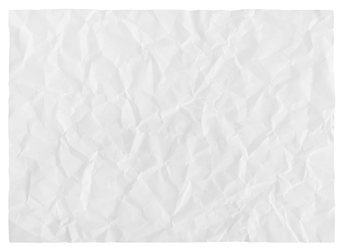 Crumpled paper background isolated on white