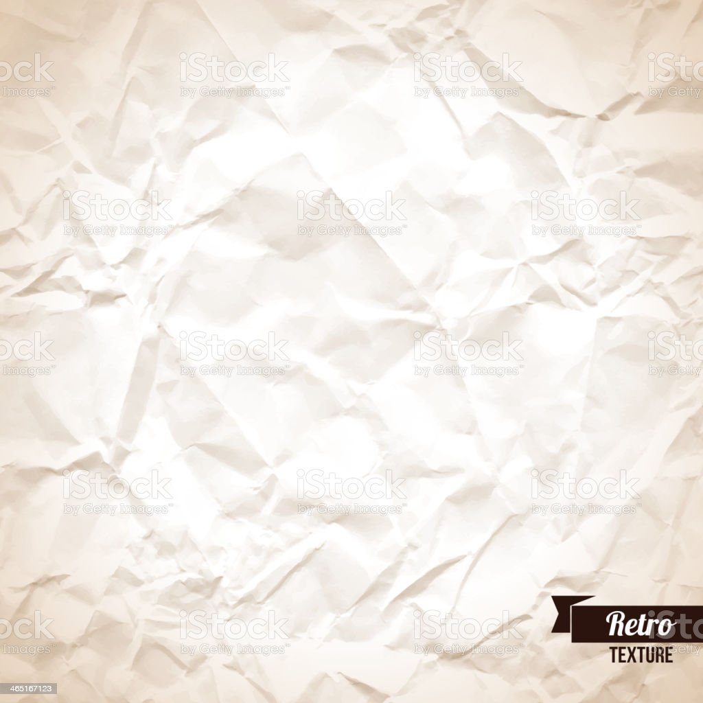 Crumpled paper background. vector art illustration