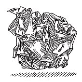 Hand-drawn vector drawing of a Crumpled Paper Ball. Black-and-White sketch on a transparent background (.eps-file). Included files are EPS (v10) and Hi-Res JPG.