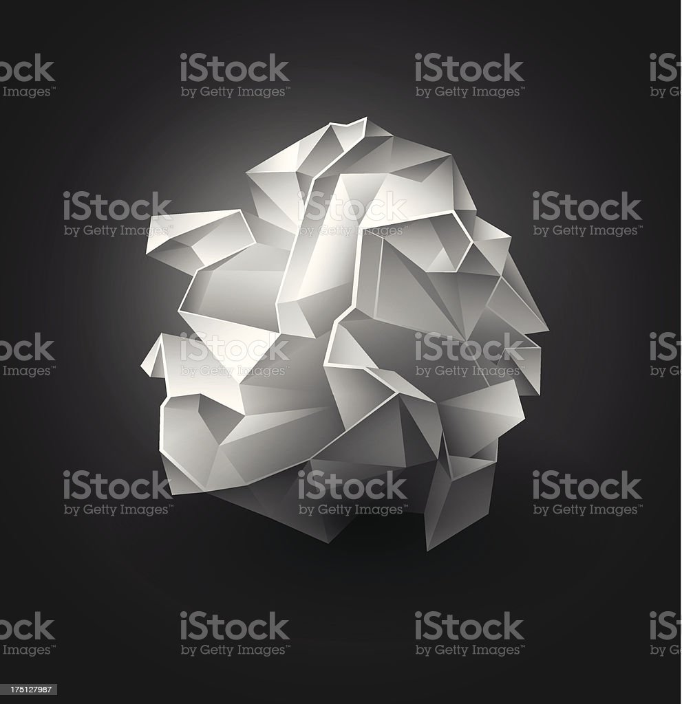 Crumpled paper ball vector art illustration