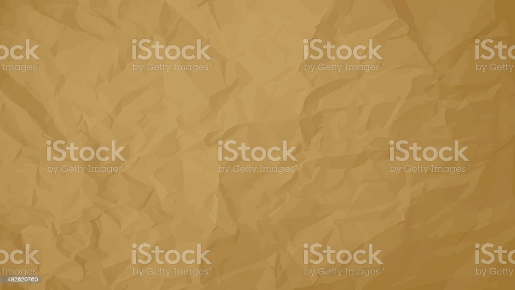 Crumpled paper brown background vector horizontal. vector art illustration