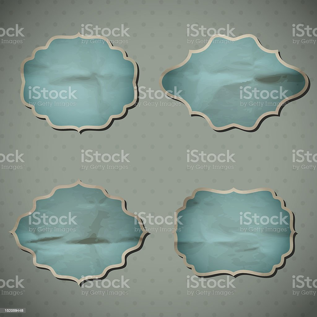 Crumpled paper frames royalty-free stock vector art