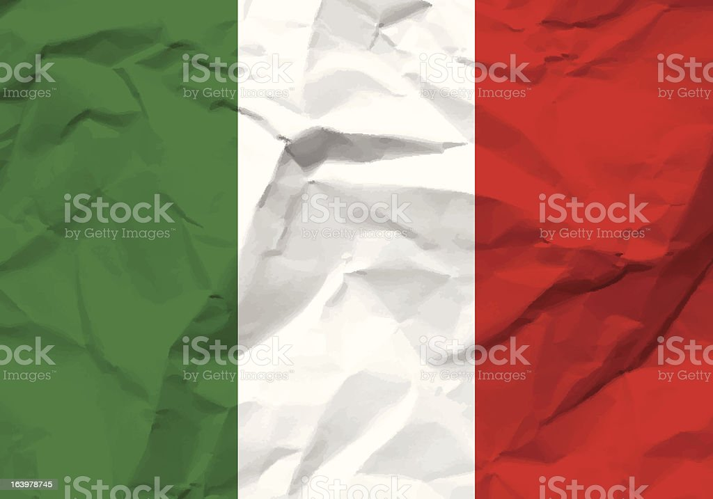 crumpled paper Italy flag royalty-free stock vector art