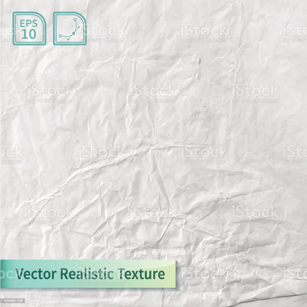 Crumpled paper sheet. Wrapping-paper texture. vector art illustration