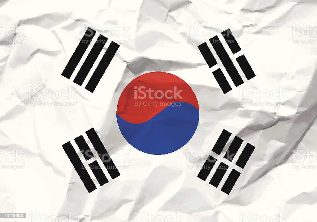 crumpled paper South Korea flag royalty-free crumpled paper south korea flag stock vector art & more images of asia