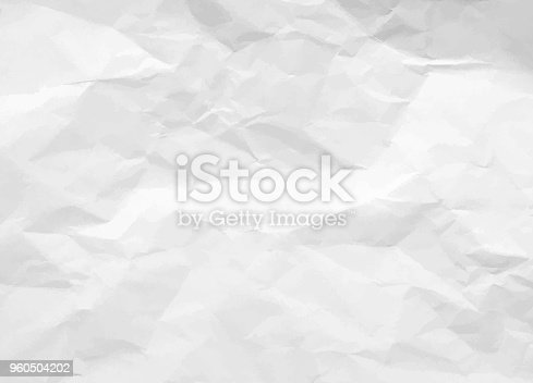 istock Crumpled paper texture. White battered paper background. White empty leaf of crumpled paper. Torn surface of letter blank. Vector illustration 960504202