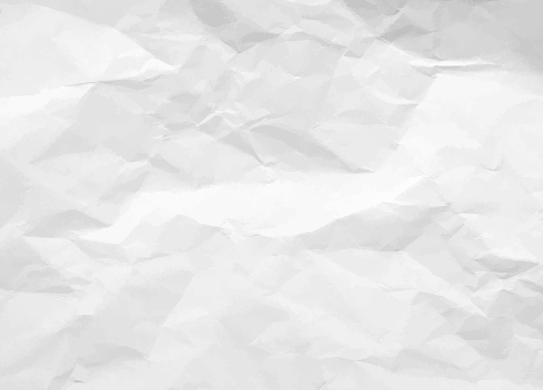 Crumpled paper texture. White battered paper background. White empty leaf of crumpled paper. Torn surface of letter blank. Vector illustration clipart