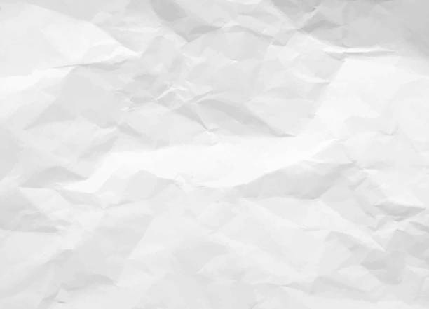 crumpled paper texture. white battered paper background. white empty leaf of crumpled paper. torn surface of letter blank. vector illustration - paper texture stock illustrations
