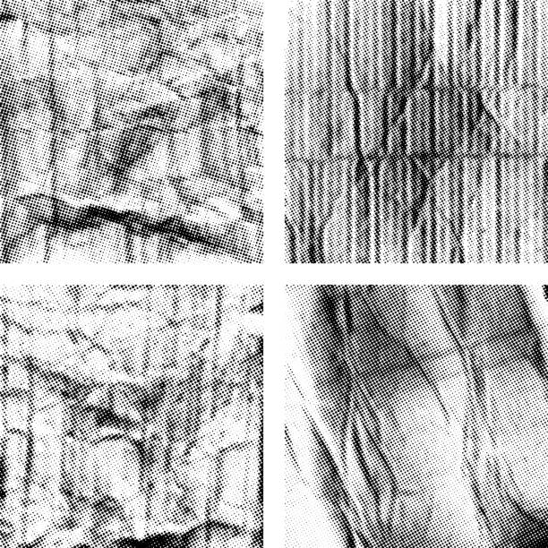 ilustraciones, imágenes clip art, dibujos animados e iconos de stock de conjunto de texturas de papel arrugado con semitono - fondos arrugados