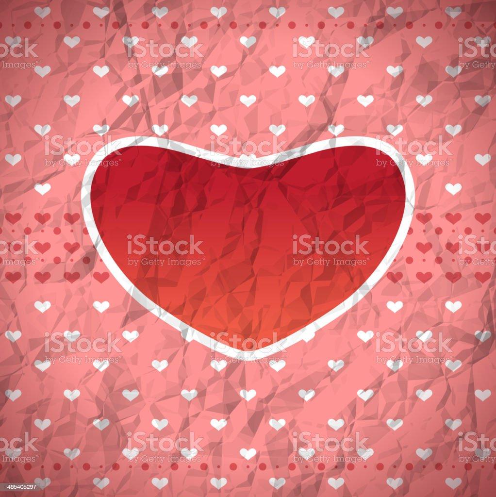 Crumpled retro heart frame royalty-free stock vector art
