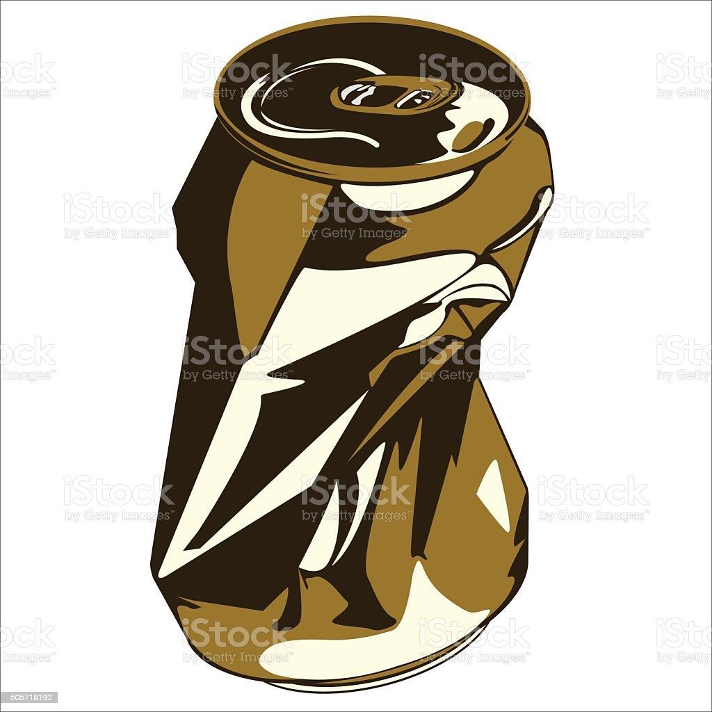 crumpled tin can vector art illustration
