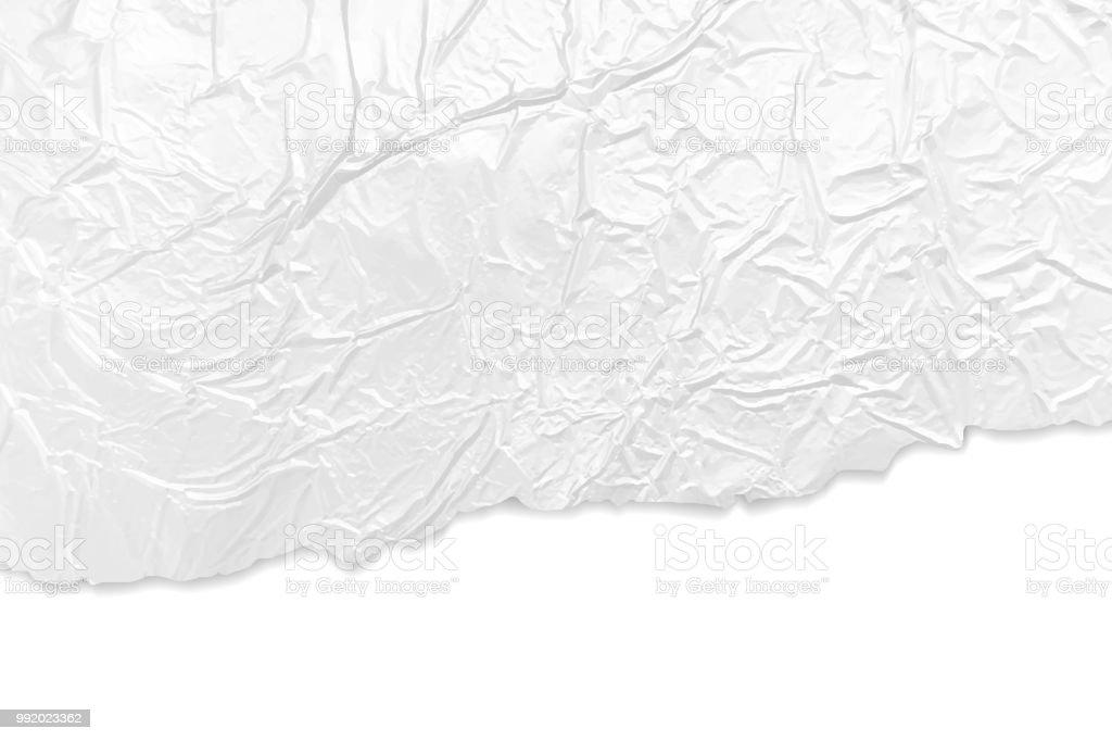 Zerknitterte Alufolie Hintergrund mit zerrissenen faltige Papierkanten – Vektorgrafik