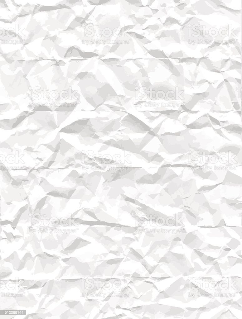 Crumpled white paper texture vector art illustration