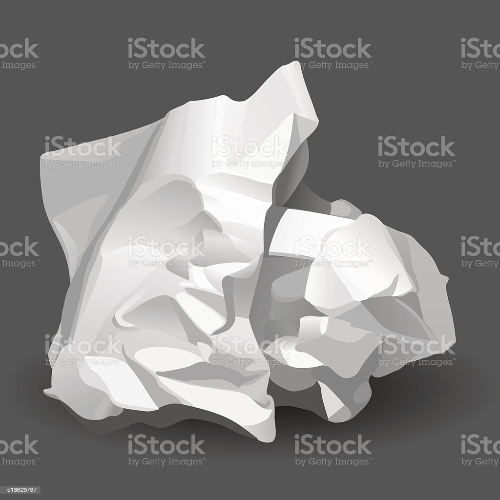 Crumpled White Paper vector art illustration