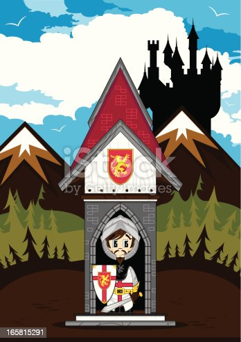 Vector illustration of an cute Medieval Crusader Knight in mini turret Castle scene.