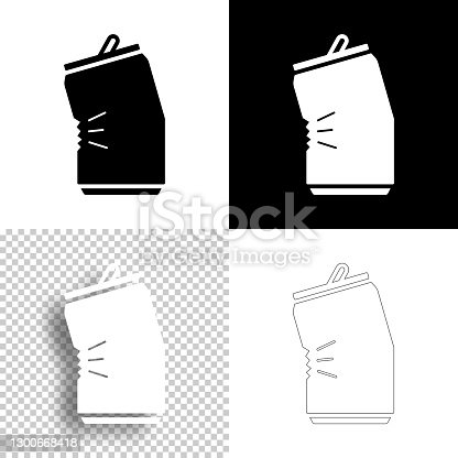 istock Crushed can. Icon for design. Blank, white and black backgrounds - Line icon 1300668418
