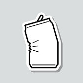 istock Crushed can. Icon sticker on gray background 1307616604