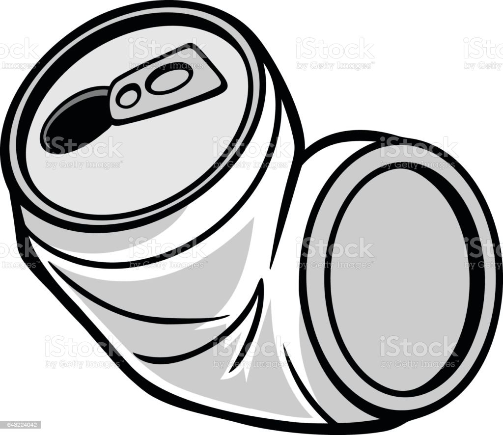 Crushed Can Illustration vector art illustration