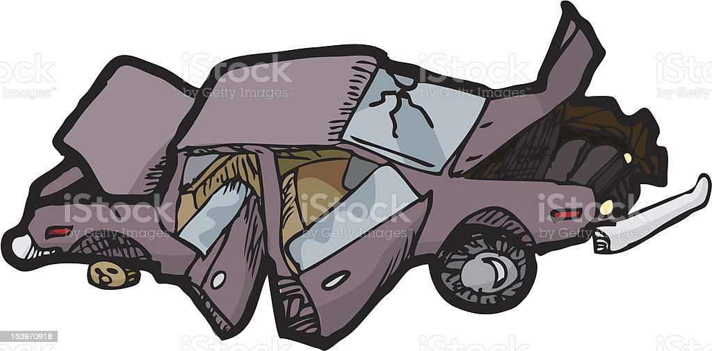 Crushed Car royalty-free stock vector art