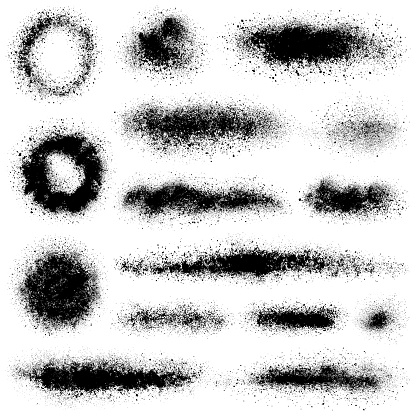 Set of grunge design elements. Crushed charcoal isolated black on white background. Black powder, dust, different shapes. Vector texture images.