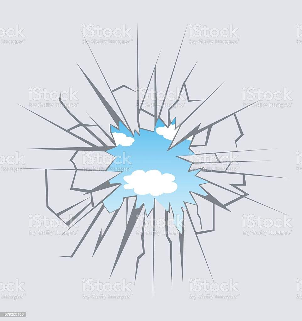 Crushed glass vector art illustration