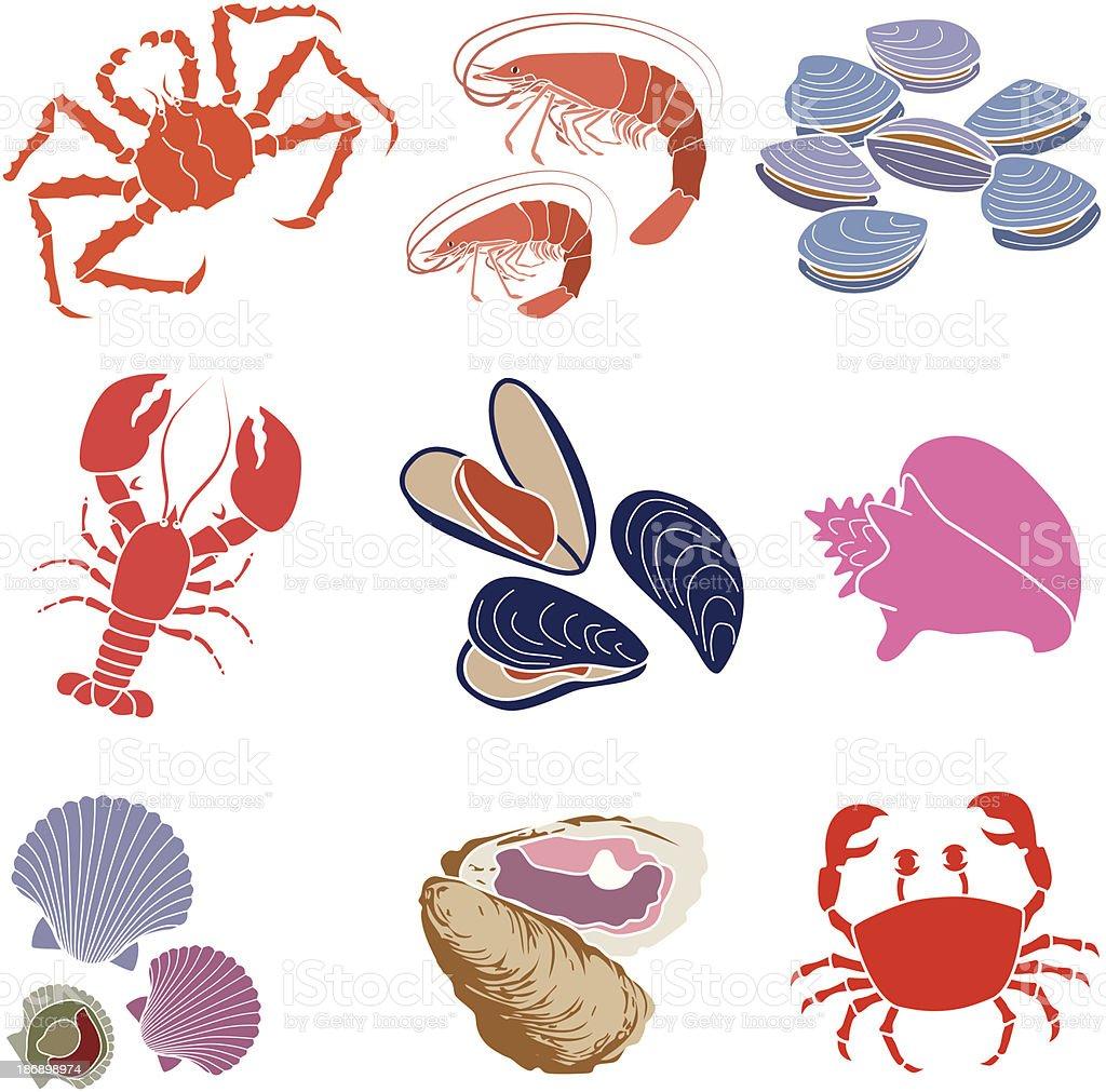 crustaceans, shellfish and mollusks vector art illustration