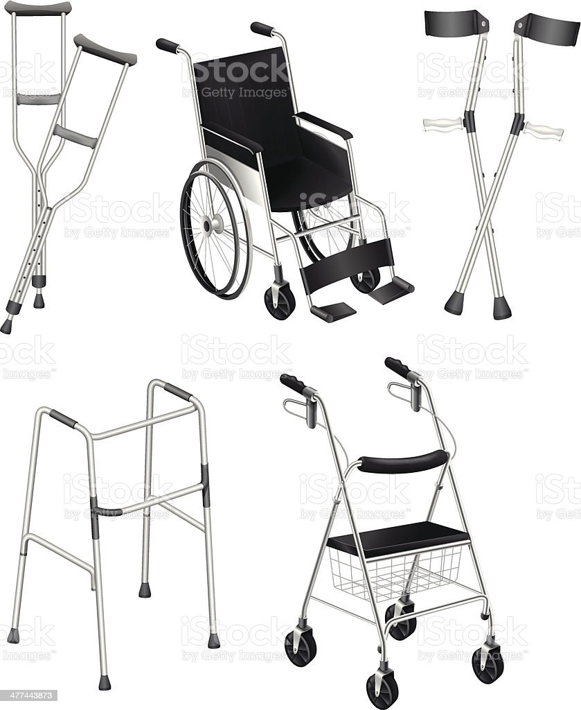 Crutches and Wheelchairs vector art illustration