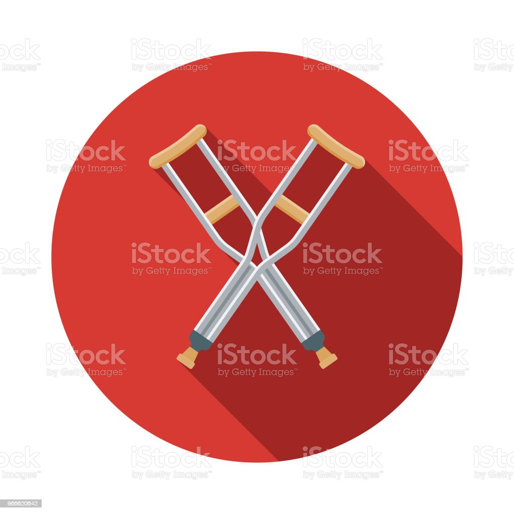 Crutches Flat Design Emergency Services Icon vector art illustration
