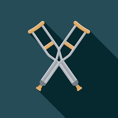 Crutches Flat Design Medical Supplies Icon with Side Shadow