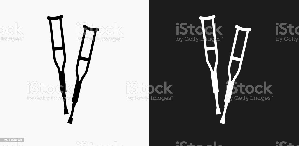 Crutches Icon on Black and White Vector Backgrounds vector art illustration