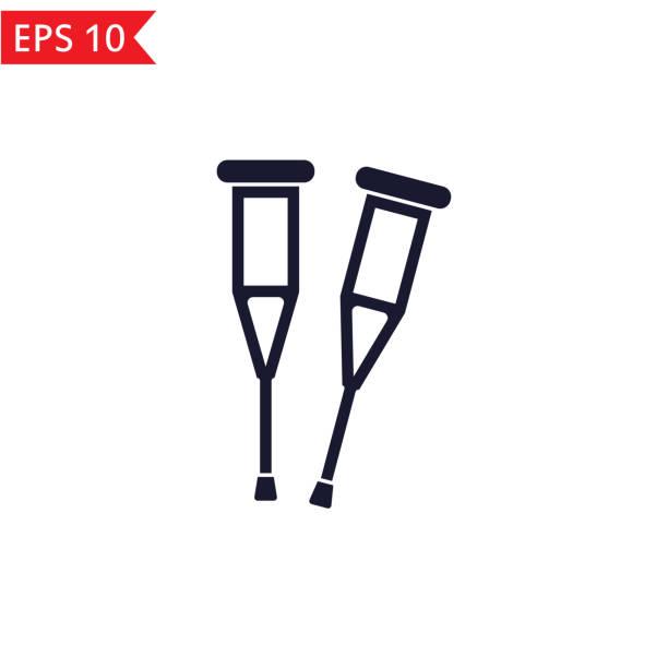 ilustraciones, imágenes clip art, dibujos animados e iconos de stock de vector el icono muletas. - medicina del deporte