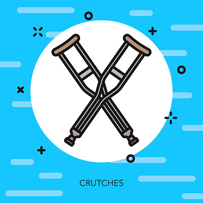Crutches Thin Line Emergency Services Icon