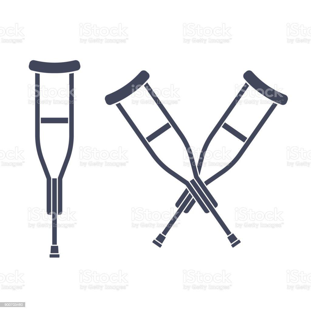 Crutches vector icon vector art illustration