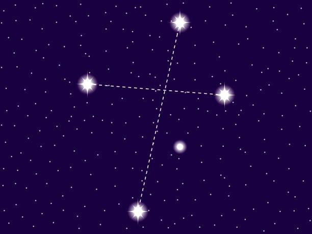 stockillustraties, clipart, cartoons en iconen met crux sterrenbeeld. starry night sky. sterrenbeeld. cluster van sterren en melkwegstelsels. diepe ruimte. vector illustratie - zuid