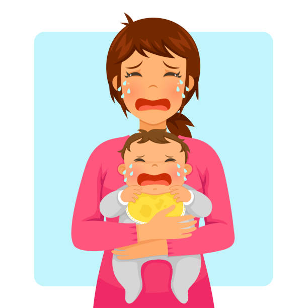 crying baby and crying mom vector art illustration