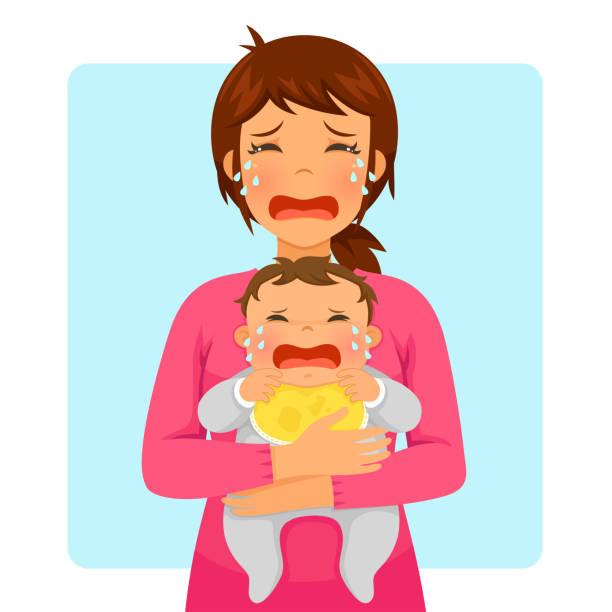 泣いている赤ちゃんと泣いているママ - 泣く点のイラスト素材/クリップアート素材/マンガ素材/アイコン素材