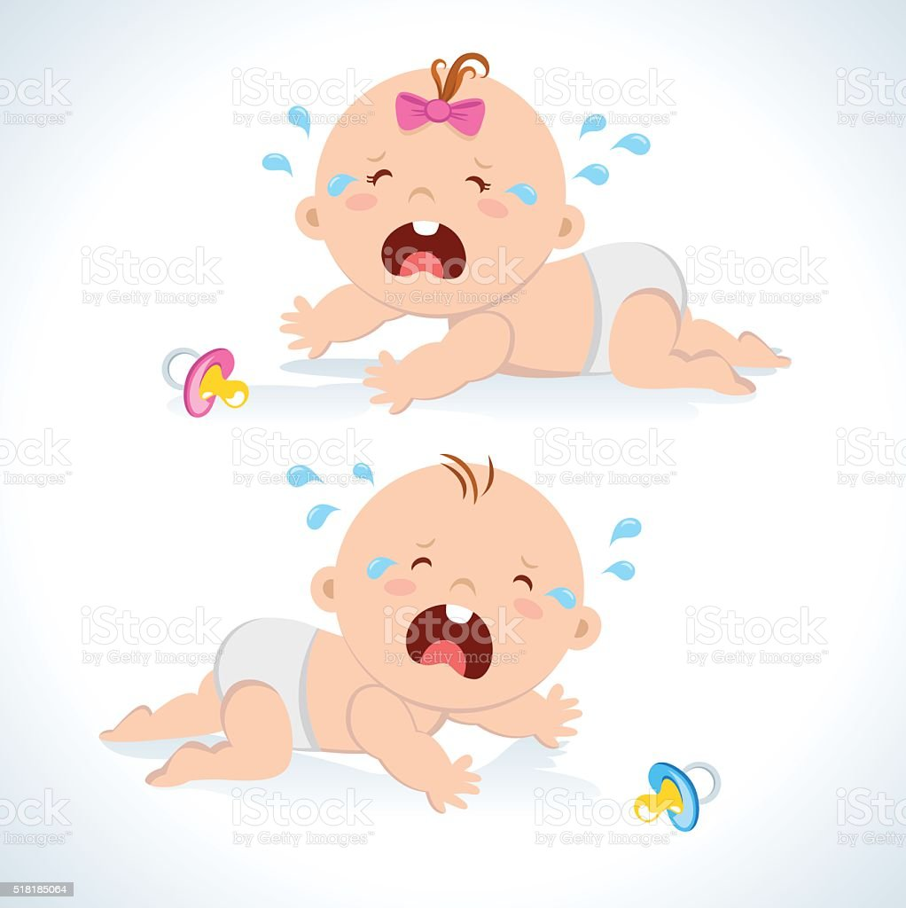 Crying baby crawling vector art illustration