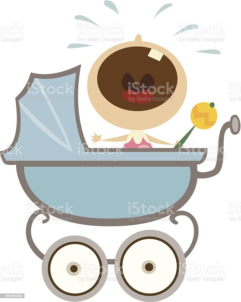 Crying Baby in Stroller vector art illustration