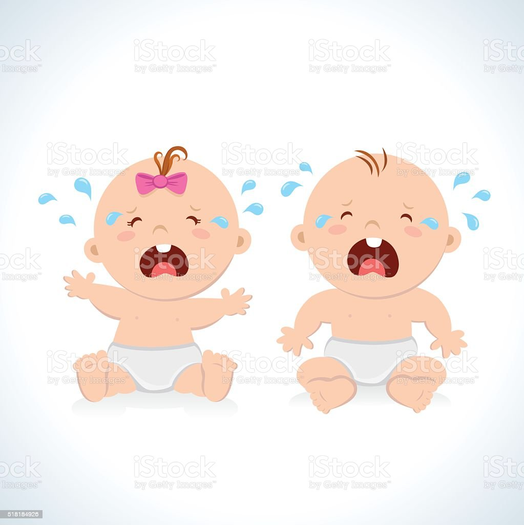 Crying baby vector art illustration