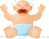 Crying baby with diaper vector icon