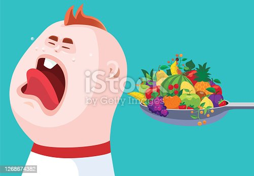 vector illustration of crying baby with fruits