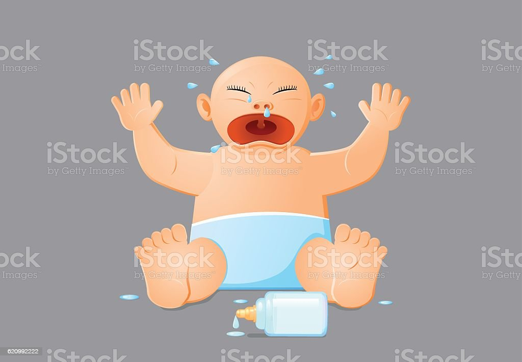 Crying baby with spilled milk bottle vector icon vector art illustration