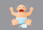 Crying baby with spilled milk bottle vector icon