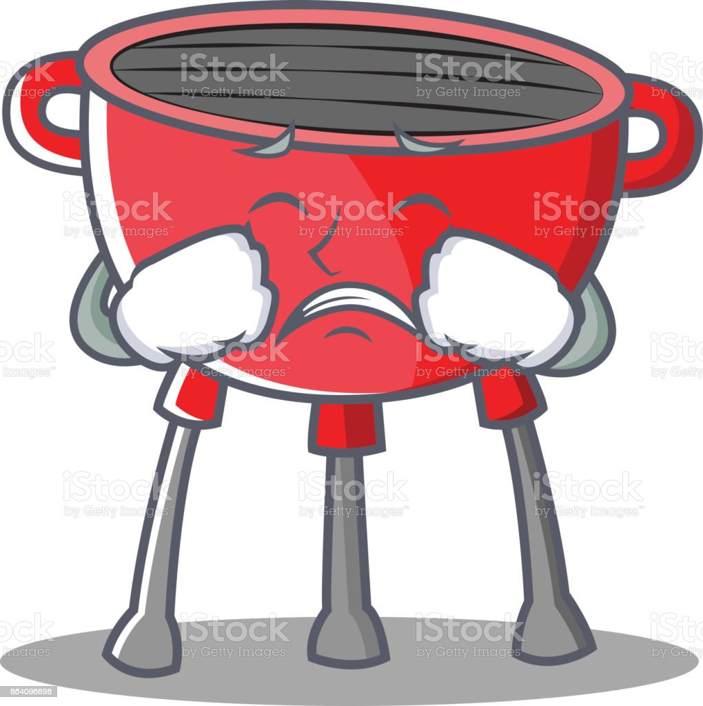 Crying Barbecue Grill Cartoon Character royalty-free crying barbecue grill cartoon character stock vector art & more images of clip art